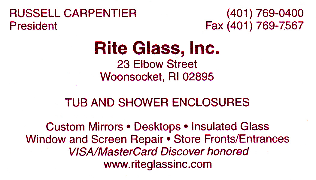 Rite Glass Inc ad